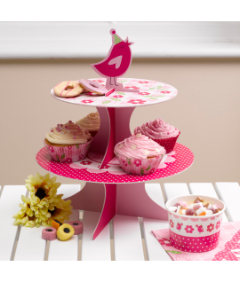 "Présentoir cup cake ""fleur oiseau"" rose"
