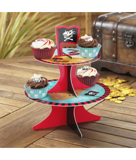 "Présentoir cup cake ""Dino pirate"" turquoise"