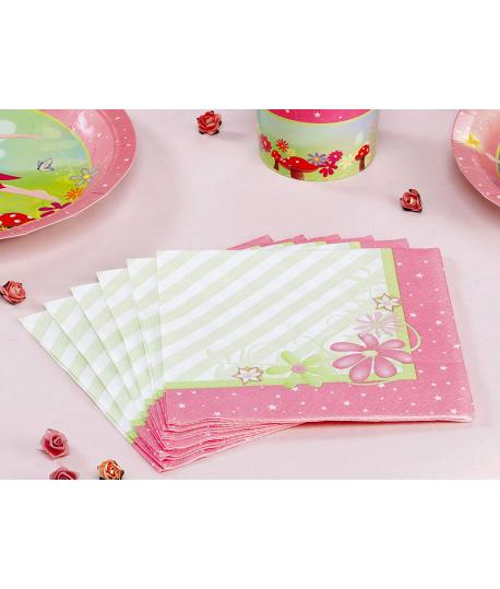 "20 x Serviette ""fleurs princesse"" rose vert"
