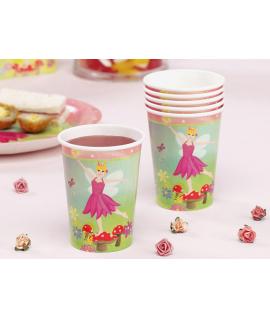 "8 x gobelet ""fleurs princesse"" rose vert"