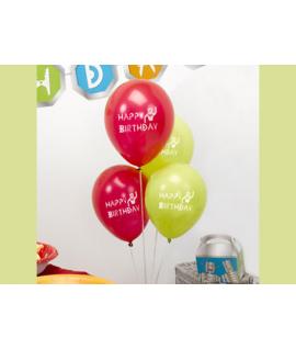 "8 x Ballon Happy Birthday ""robot"" vert et rouge"