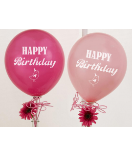 "8 x Ballon Happy Birthday ""fleur oiseau"" rose"