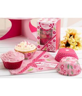 "100 x moule cup cake ""fleur oiseau"" rose"