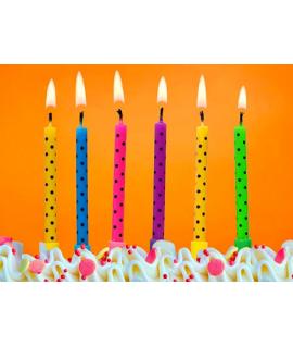 6x Bougie d'anniversaire pour gâteau multicolores et pois noirs