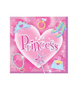 "16 x serviette ""princess"" coeur rose"