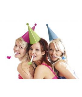 6 x chapeau de fête multicolore avec pompon
