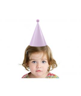 6 x chapeau de fête rose bleu avec pompon