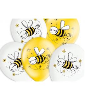 6 x ballon d'anniversaire abeille jaune et blanc