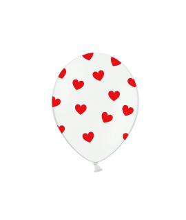 6 x ballon blanc coeur rouge