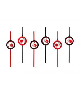 6 x paille d'anniversaire coccinelle rouge et noir