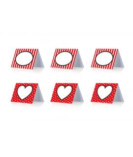 """6 x marque place """"coeur"""" rouge noir et blanc"""