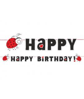 Guirlande Happy birthday coccinelle et coeur 153cm