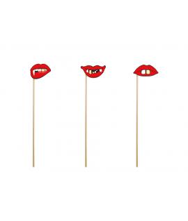 3 x Bouche rouge et vilaines dents sur tige pour photobooth