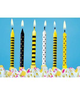 6x Bougie d'anniversaire pour gâteau abeille noir et jaune