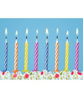 10x Bougie d'anniversaire multicolore pour gâteau