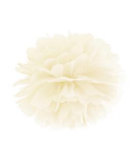 Pompon papier crème 25 cm