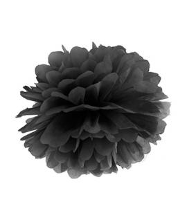 Pompon papier noir 25 cm