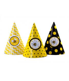 6x Chapeau d'anniversaire abeille color mix