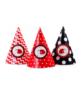 6x Chapeau d'anniversaire coccinelle color mix