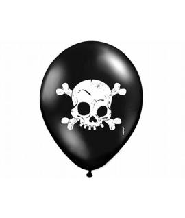 10x Ballon à gonfler noir et blanc à tête de mort