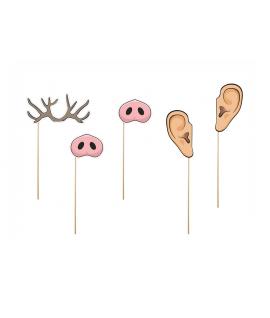 5 x nez, oreille, corne cerf sur tige