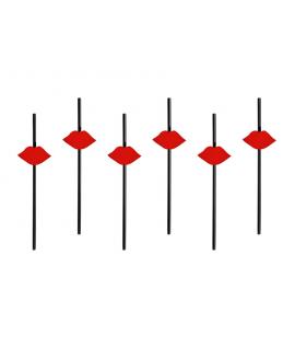 6 x paille noire et bouche rouge