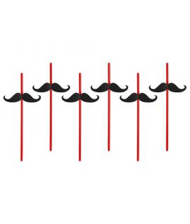 6 x paille rouge et moustache noire