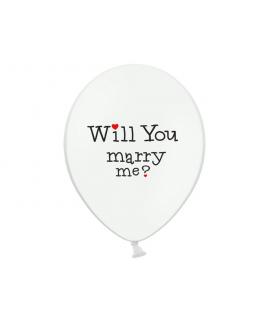 "10x Ballon à gonfler blanc ""will you marry me ?"""