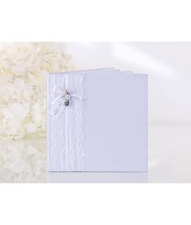 Livre d'or carré blanc avec dentelle, noeud, roses et coeur