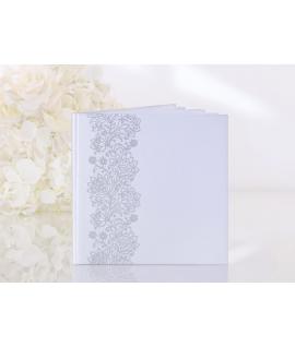 Livre d'or carré blanc arabesque florale argentée