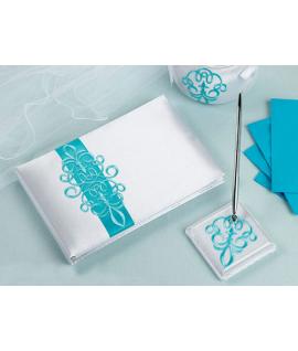 Livre d'or et porte-plume blanc avec arabesque turquoise
