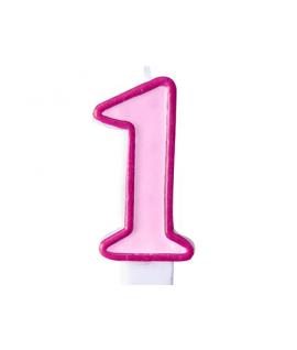 """Bougie """"happy birthday"""" rose chiffre 1"""