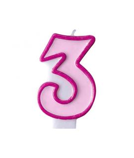 """Bougie """"happy birthday"""" rose chiffre 3"""
