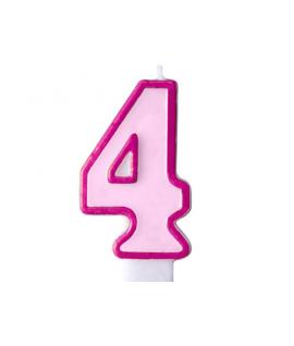 """Bougie """"happy birthday"""" rose chiffre 4"""