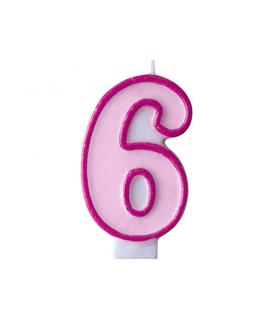 """Bougie """"happy birthday"""" rose chiffre 6"""