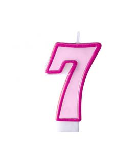 """Bougie """"happy birthday"""" rose chiffre 7"""