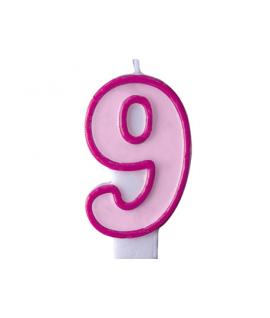"""Bougie """"happy birthday"""" rose chiffre 9"""