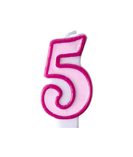 """Bougie """"happy birthday"""" rose chiffre 5"""