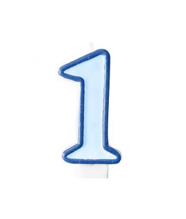 """Bougie """"happy birthday"""" bleu chiffre 1"""