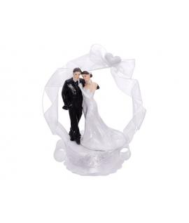 """Figurine pour gâteau """"couple de mariés avec alcôve blanche"""""""