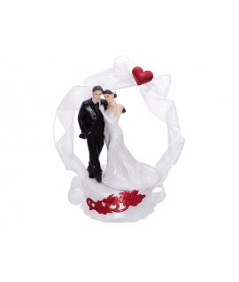 """Figurine pour gâteau """"couple de mariés avec alcôve blanche et rouge"""""""