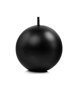Bougie sphérique métallique noir 80 mm