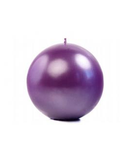 Bougie sphérique métallique violet 80 mm