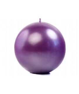 Bougie sphérique métallique violet 100 mm