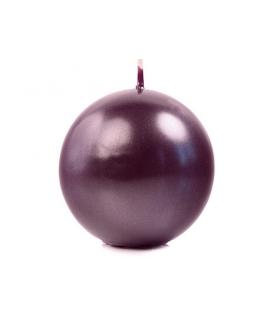 Bougie sphérique métallique prune 80 mm