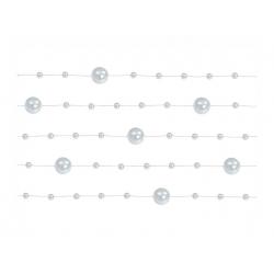 5 x Guirlande de perles argent 130 cm