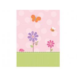 Nappe anniversaire fille rose et vert 137 x 259 cm