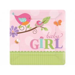 8 x assiette baby girl rose et vert carrée 17.8 cm