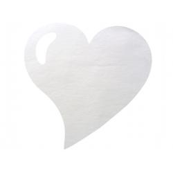 50 x Set de table tissu coeur mat blanc