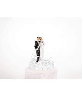"""Figurine pour gâteau """"couple de mariés au balcon"""" en blanc"""